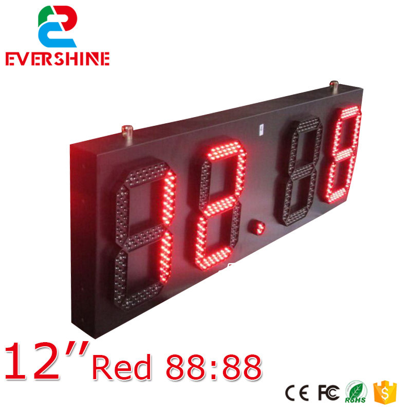 88:88 led time temperature sign/ led gas station display/ large outdoor digital clock temperature display 12 inch single red hot sale 16inch waterproof oil price led digital number display screen sign panel from china