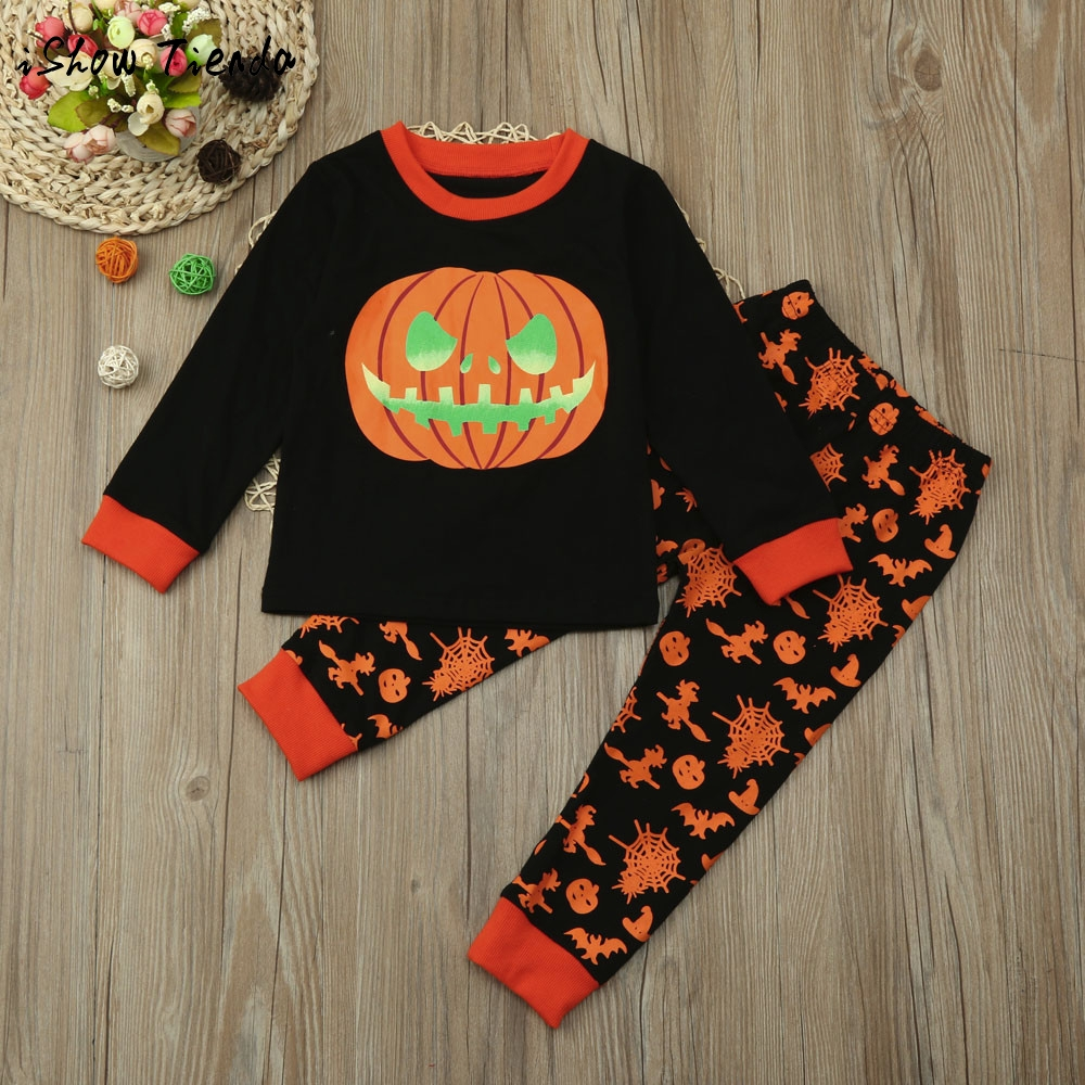 Infant Kid Baby Girl Boy long sleeve letter Pumpkin Top+Pant Halloween Outfit Children clothing Set cotton costume suit Pullover ...