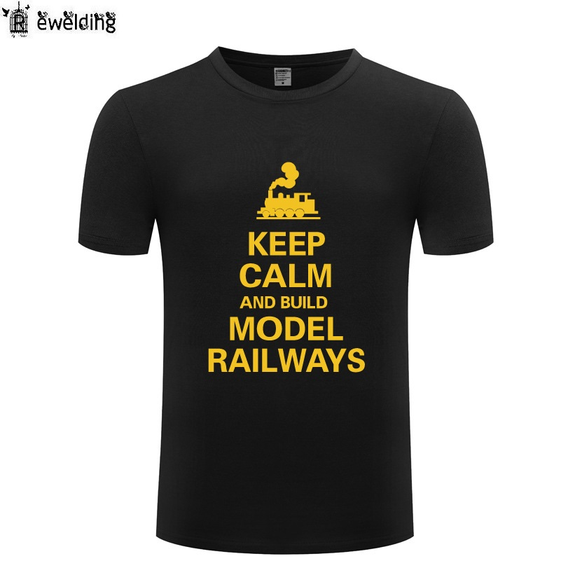 Keep Calm And Build Model Railways T Shirt Men Funny Cotton Short Sleeve Tshirt Novelty T-Shirt for Men Women Tee Shirts Homme