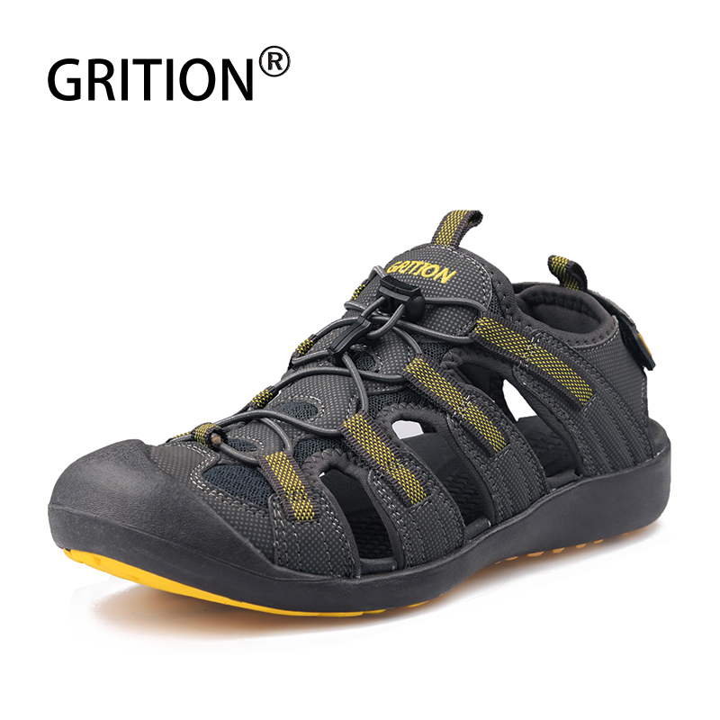 GRITION Men Sandals Leather Hiking Outdoor Flat Summer Breathable Sport Walking Trekking Comfortable Beach Shoes Fashion 2019New