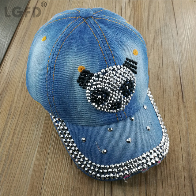 LGFD17221 Women girl cotton snapback new fashion adjustable custom anchor  panda Rhinestones design denim baseball cap 96f00698d9f6
