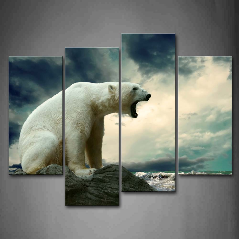 Framed Wall Art Pictures Polar Bear Rock Beach Canvas Print Animal Posters With Wooden Frames For Home Living Room Decor