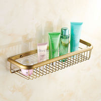 Wholesale And Retail Bathroom Hardware 45cm Basket Shelf Antique Bronze Finish Wall Mounted Classic Shower Shampoo