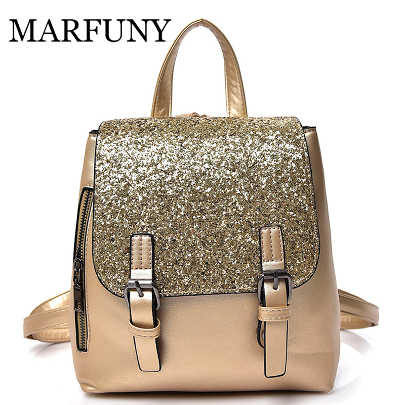 MARFUNY Mini PU Leather Women Backpack Fashion Backpack Bling Sequins Small School Backpacks Gold Bag for Girls Backpack Women mara s dream fashion new backpack pu leather women bag sweet girl mini shoulder bag cute rabbit ear sequins rivet small backpack