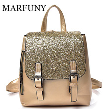 MARFUNY Mini PU nahka Naiset Reppu Fashion Backpack Bling Sequins Pienikoulu Reput Gold Bag for Girls Backpack Naiset