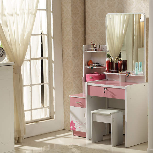 Placeholder Concise Style Dresser White Ivory Purple Pink Colored Dressing Table With Mirror Stool