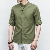 Tradictional Chinese Clothing For Men Short Sleeve Cotton Linen Shirts Chinese Style Kung Fu Tai Chi Suit Chinese Tops CN 030