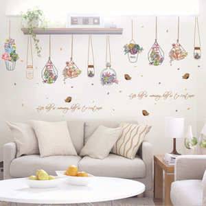 Настенные наклейки бонсай в горшках с цветами и бабочками, наклейки на стену для гостиной, кухни, окна, домашнего декора, декорация для дома