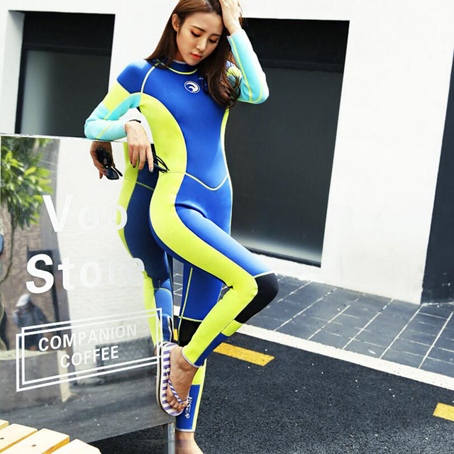 Women Wetsuit 3mm Long Sleeve One piece Swimwear Diving Suit Swimming Girls  Thermal Snorkeling Surfing Winter Diving Clothes 566edcf43
