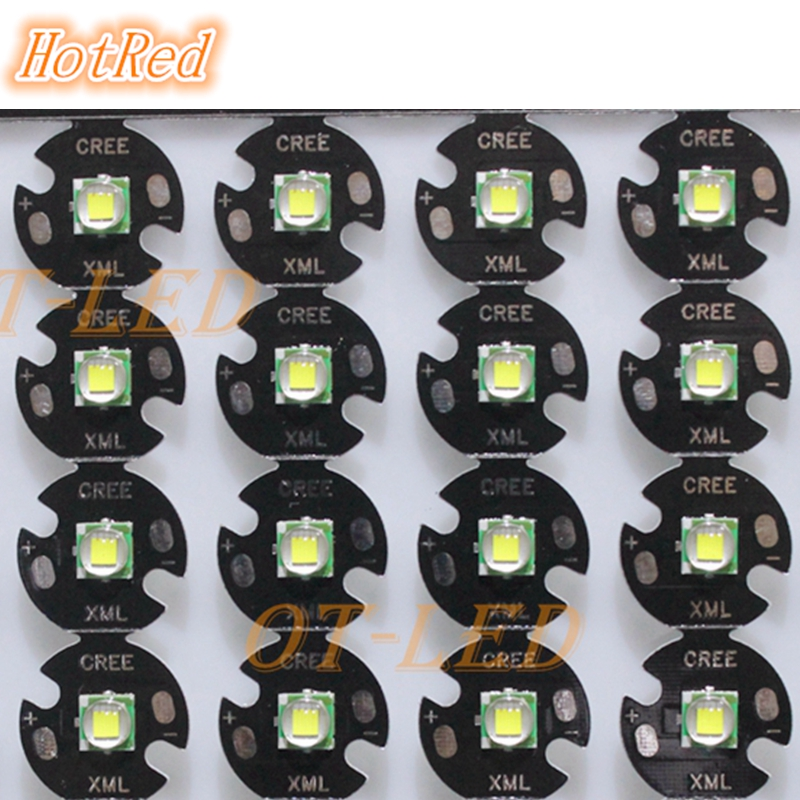 10 PCS CREE XML XM-L T6 LED T6 U2 10W WHITE Warm White High Power LED Chip Emitter with 12mm 14mm 16mm 20mm PCB for DIY 2pcs lot us cree cxa 3070 beads 117w high power led chip 2700 3000k 5000 6500k pure white warm white