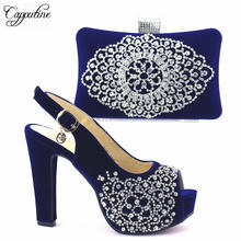 Capputine Dark Blue Color With Silver Cyrstal Italian Shoes With Matching Bag Set Fashion Woman Pumps Shoes And Bag Set Stock