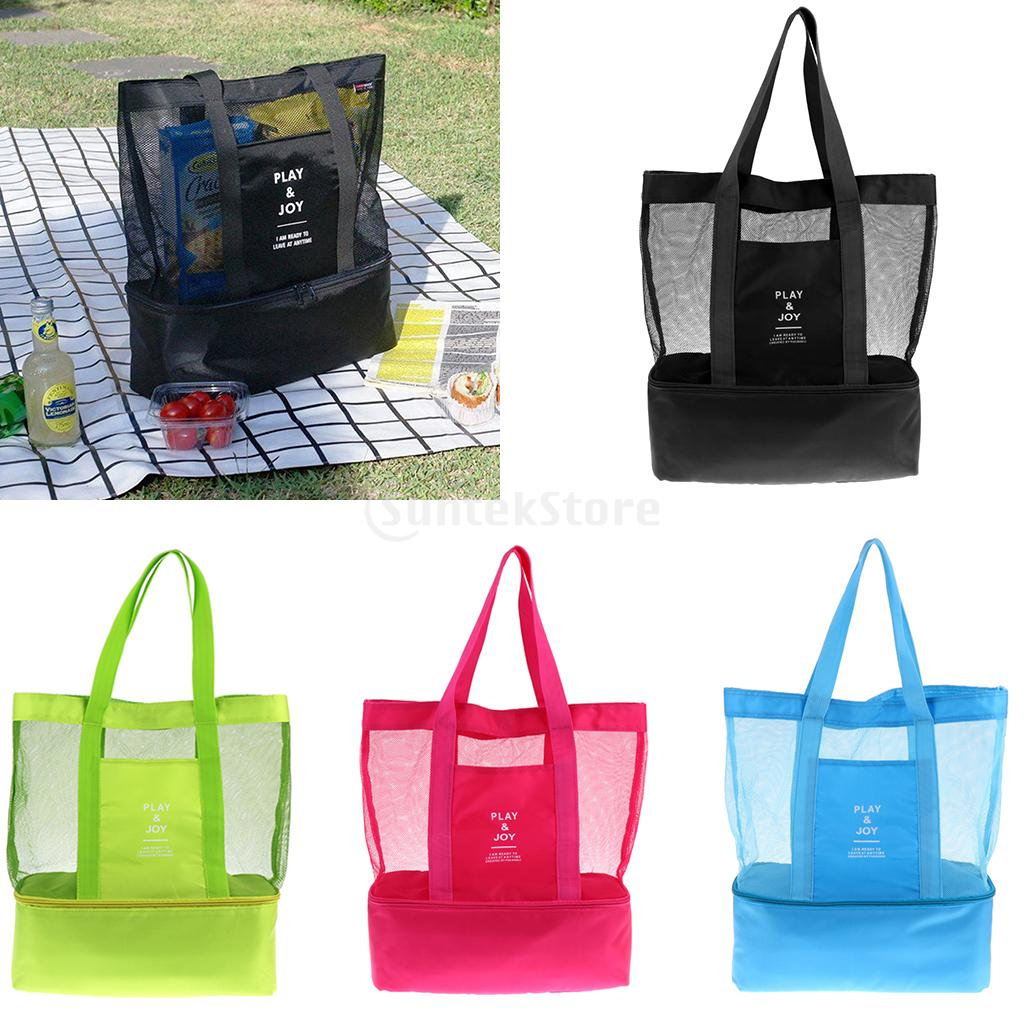 Portable 2 Compartments Insulated Cooler Bag Mesh Tote Picnic Beach Pool Parks BBQ Camping Travel