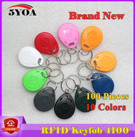 100Pcs RFID Tag Key Fob Keyfobs Keychain Ring Token 125Khz Proximity ID Card Chip EM4100 TK4100 for Access Control Attendance