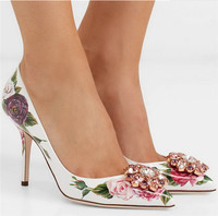2019 Bling Rhinestone Floral Printing Leather High Heels Women Pumps Pointed Toe Ladies Crystal Shoes Party Wedding Dress Shoes