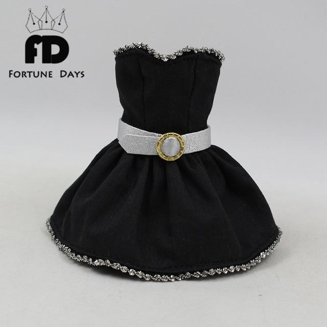 Black Dress Silver Wide Belt Gold Ring Doll Clothesbjd Diy In