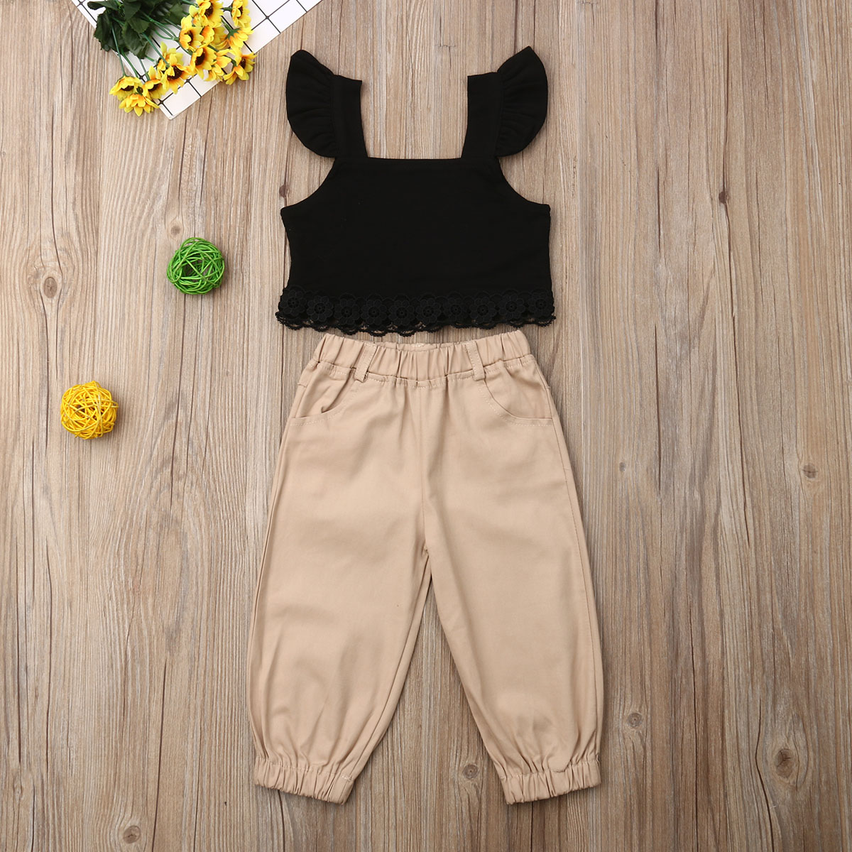 Pudcoco Summer Toddler Baby Girl Clothes Fly Sleeve Lace Cropped Tops Casual Long Pants 2Pcs Outfits Set