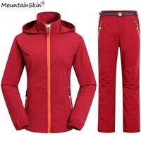 Mountainskin קבוצות גברים מהירים יבשים מעילים סתיו מכנסיים נשים מקרית סלעית מעילי Windproof עמיד למים מכנסיים מותג גברים LA584