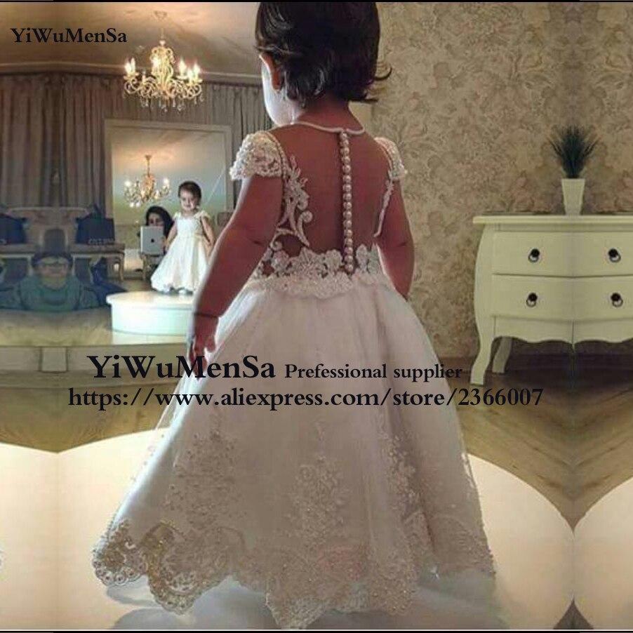 Vestido de Noiva lace appliques Flower chidren dress For Wedding party communion gown custom made pearls chidren dresses 2017