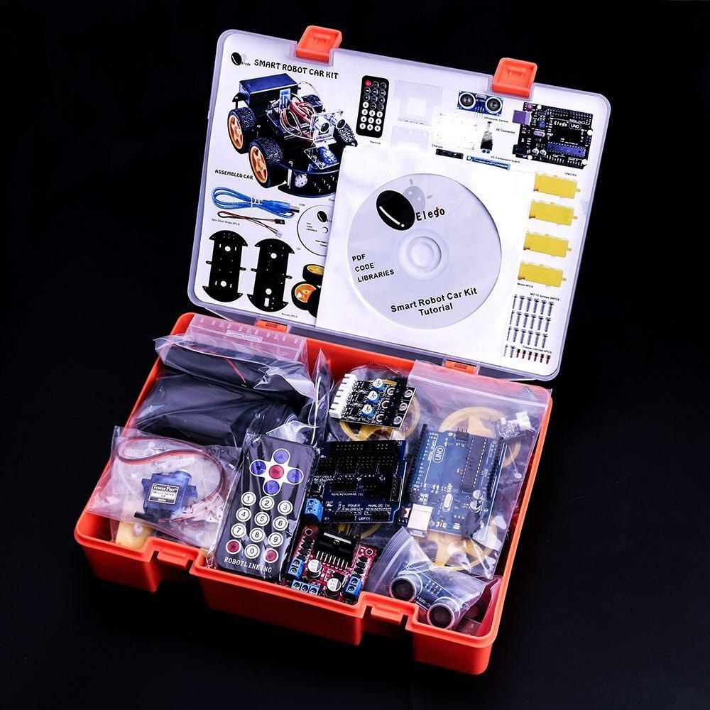 Kit de voiture Robot intelligent projet UNO pour Arduino UNO R3, capteur à ultrasons, module Bluetooth, ect voiture jouet éducatif avec CD - 3