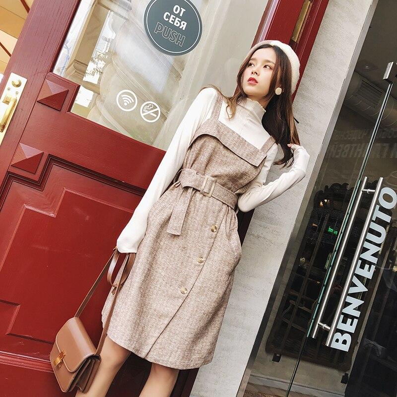 MISHOW 2019 automne hiver nouvelle robe caraco pour weomen casual slim fit avec poche kaki genou longueur robe MX18D1059