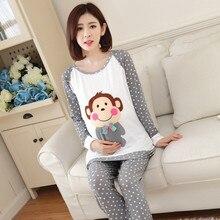 Купить с кэшбэком Spring Summer Cotton Nursing Pajamas Expectant Mother Feeding Dress Character Pregnant Women Pajamas Stretching  Coat + Pants