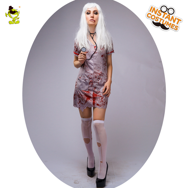 b7ad20f5374e9 New Design Bloody Nurse Costumes Halloween Party Gruesome Corpse Nurse  Cosplay Fancy Dress Adult Women's Bloodstained Nurse Suit