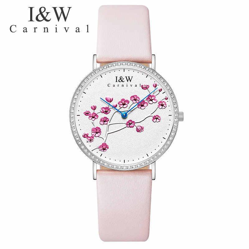 Швейцарский импортный КВАРЦ ДВИЖЕНИЕ женские часы карнавал люксовый бренд часы для женщин сапфир из натуральной кожи reloj hombre C3002-3