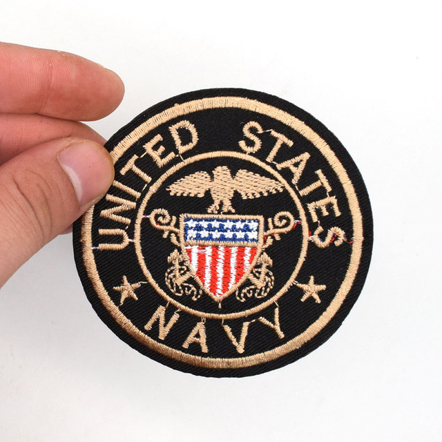 United States Navy Round Patch Iron Sew On Fabric Stickers Diy