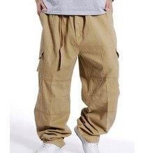 Military Stil Locker Baggy Cargo-hosen Männer Multi Tasche Cargo Pants Für Männer Lässig Baumwolle Gerade Hosen Hosen Größe 3XL