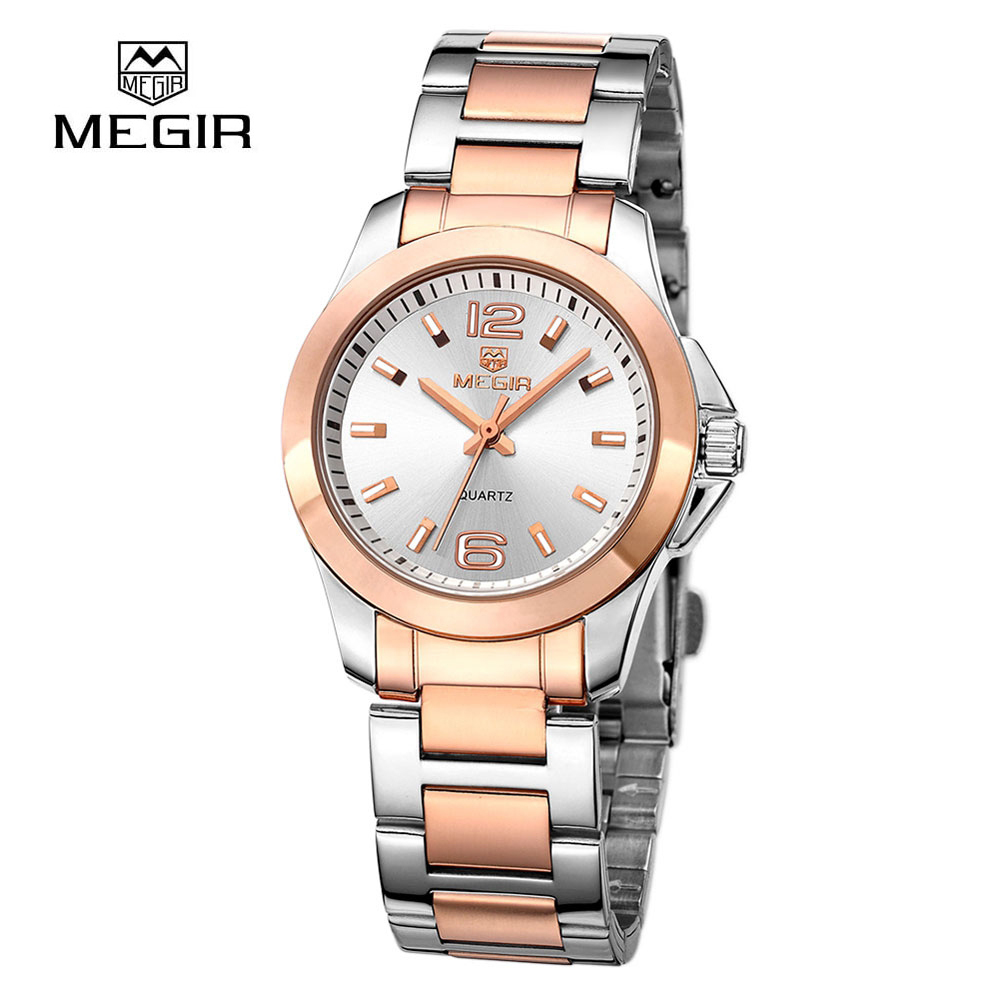 Megir Luxury Brand Watch Women Full Stainless Steel Gold Watch Montre Femme Fashion Business Waterproof Lover