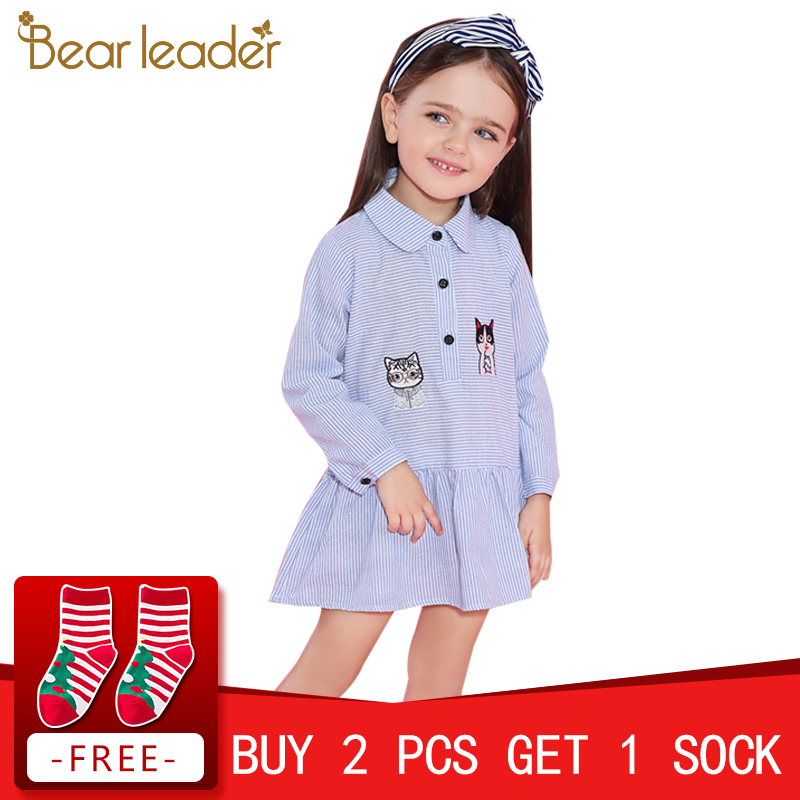 Bear Leader Girls Dress 2018 Fashion Shirts Dresses Long Sleeve Blue Striped Embroidery Trun-down Collar Design for Kids Dresses chic stand collar 3 4 sleeve striped shirt dress for women