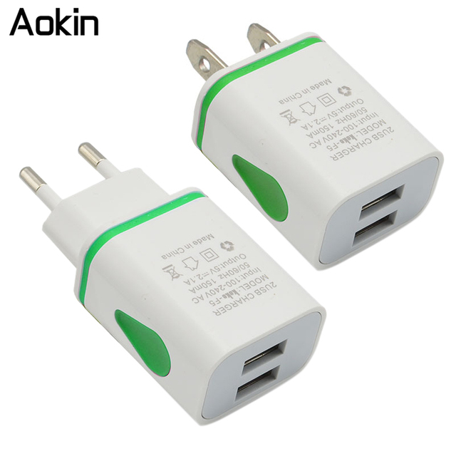 Aokin Led Light EU US Plug AC Power Adapter Travel Wall Charger 2 Port Dual USB Charger for iPhone 4 5 6 plus for Samsung HTC