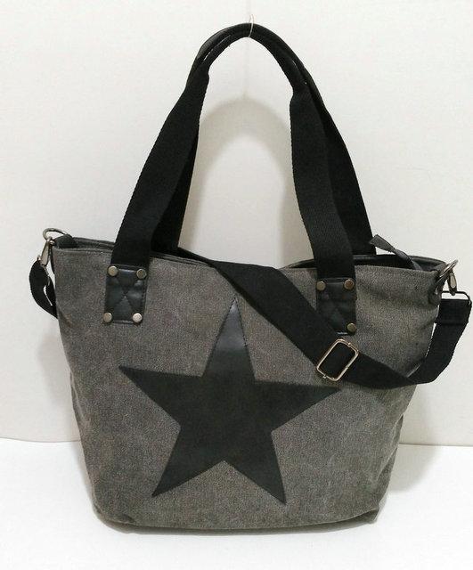 BIG STAR STUDDED GLITTER CANVAS HANDBAG - Multifunctional Travel Tote Shoulder Bag 3