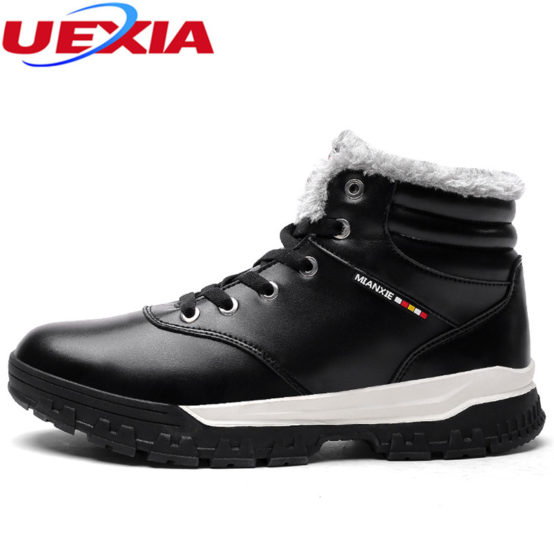 UEXIA Plus Size 48 Winter Casual Warm Shoes Men Black Short Plush Snow Boots Mens Outdoor Fashion Work Botas Increased Chaussure uexia women winter warm snow shoes casual flats increased shoes woman fur inside comfortable slip on botas zapatos mujer flock