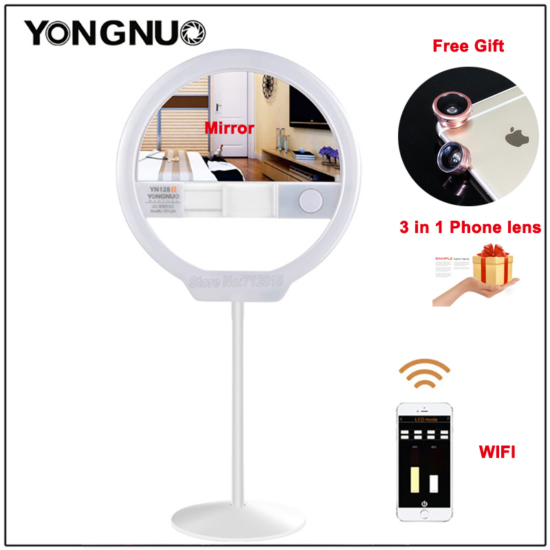 YONGNUO YN128 II Photography LED Ring Selfie Light with Makeup Mirror Bicolor Beautify LED Selfie Lamp for iPhone Mobile Youtube кольцо для селфи selfie ring light на батарейке белое