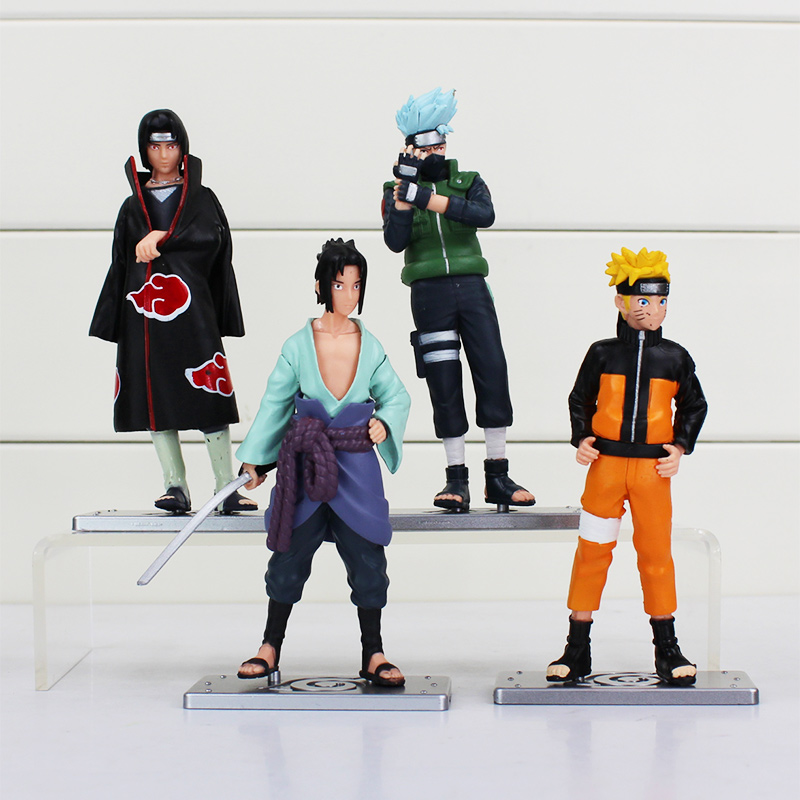 4pcs/lot 12cm Naruto Figure Toys Kakashi Sasuke PVC Model Toys Free Shipping 21cm naruto hatake kakashi pvc action figure the dark kakashi toy naruto figure toys furnishing articles gifts x231