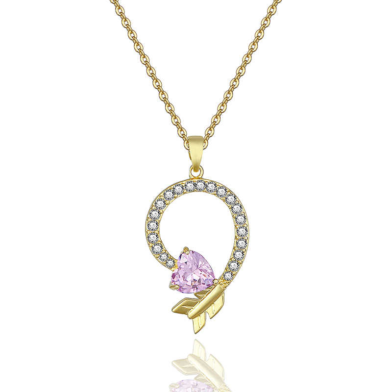 Synthetic Cubic Zirconia Necklaces Cupid's Arrow Crystal Heart and Arrows Pendant Necklace Valentine's Day Gifts Accessories