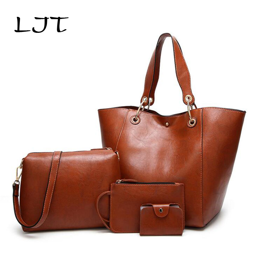 LJT Brand Designer Women Leather Handbags Women Bags Set 4 Pcs Large Tote Bags Handbag+Messenger Bag+Purse +Cards Bag Sac a Main 3 sets 2017 women handbags leather handbag women messenger bags ladies brand designs bag bags handbag messenger bag purse 3 sets