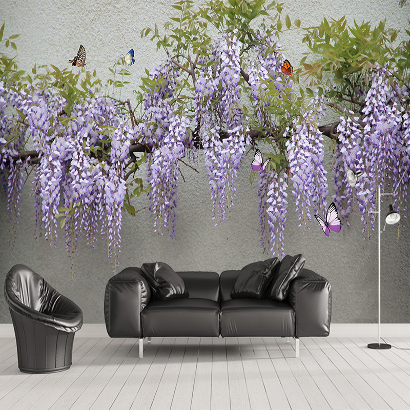 Custom Photo Wallpaper 3D Stereo Wisteria Flower Butterfly Murals Living Room Dining Room Background Wall Cloth Papel De Parede
