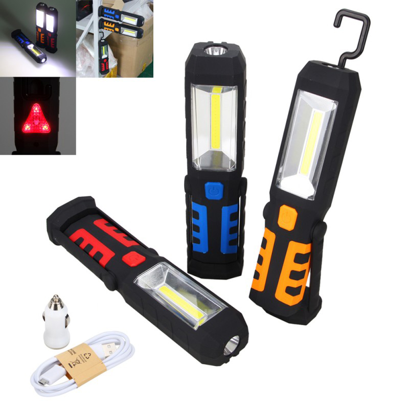 Portable USB Rechargeable COB LED Work Light Magnetic 360 Degree Stand Hanging Flashlight Camping Torch Hunting Lamp