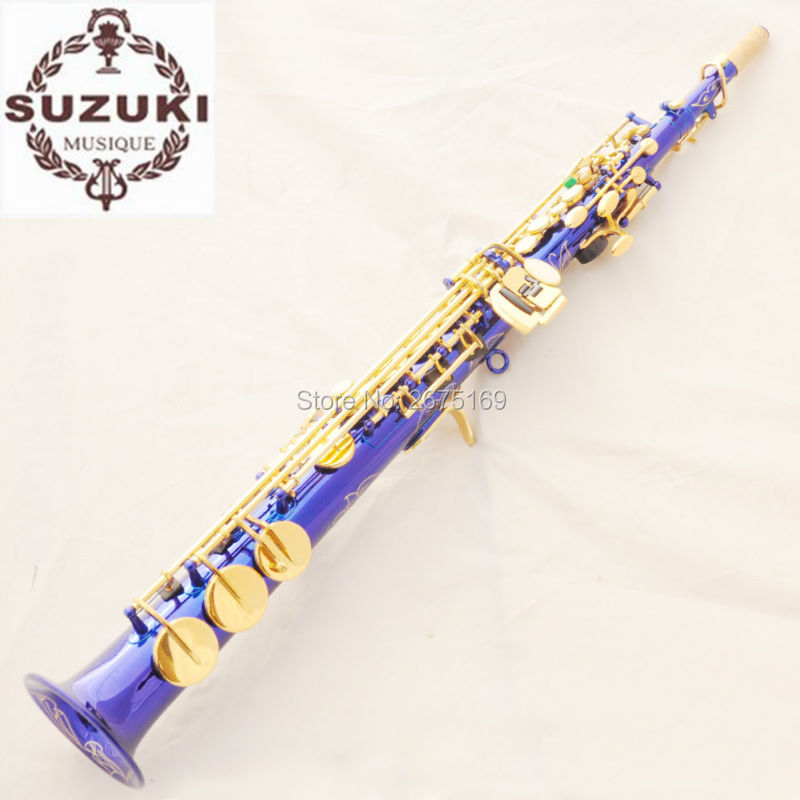 Brand New Suzuki Bariton Saxophon High Pitch Soprano Saxophone Blue ZK 816  Professional B Mouthpiece Sax saxofone-in Saxophone from Sports &