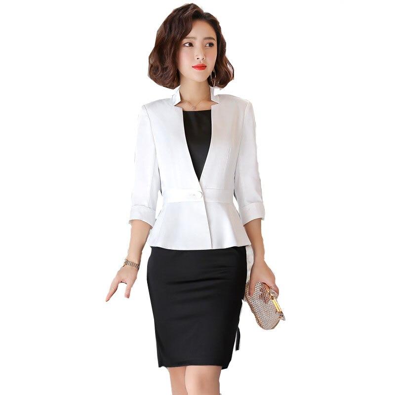 Professional Half Sleeved Coat + Dress Summer 2019 Office Lady Business Dress+Blazer 2 PCS Uniform Formal Clothing short dresses office wear