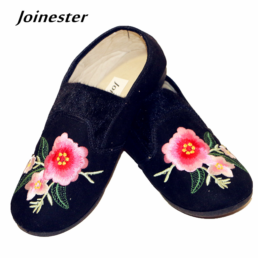 Vintage Embroider Women Winter Shoe Round Toe Slip-On Flat Heeled Loafers Warm Casual Shoe Soft Moccasin Footwear with Faux Fur uexia women winter warm fur plush loafers fashion round toe slip on ladies casual flats shoes women s bow tie ladies footwear