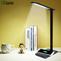DCAE Folding LED Desk Lamp with Wireless Charger for iPhone X 8 Plus Qi Fast Wireless Charging Pad for Samsung S8 S9 USB Charger