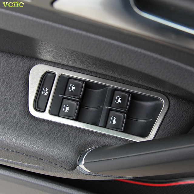Stainless steel interior door window button frame round trim covers for volkswagen vw golf 7 gti