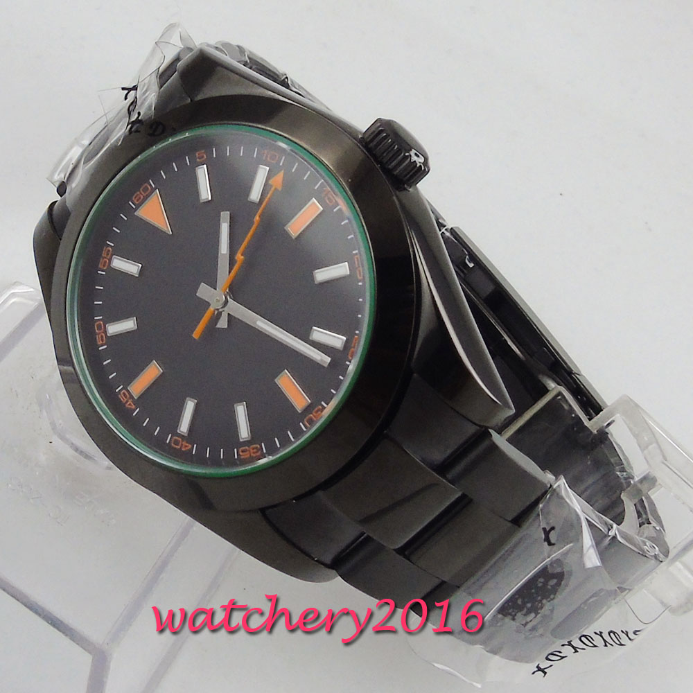 NEW Arrive 40mm PARNIS Black Sterile Dial no logo Stainless Steel PVD Luxury Brand Orange mark