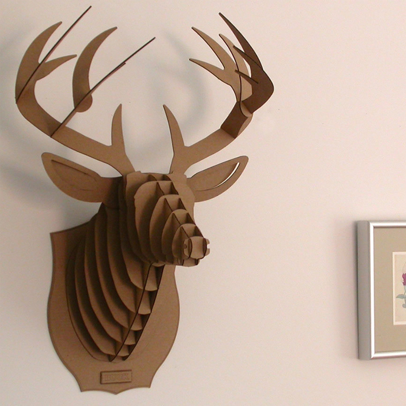 Deer Head Wall Mount DIY Model 3d Puzzle Cardboard Animal Decor