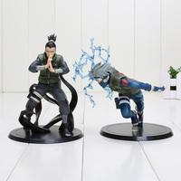 2pcs New Nice 15cm Anime Naruto Figure Nara Shikamaru + Hatake Kakashi Pvc Action Figures Toys
