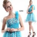 HE03293 Ever Pretty Girl's One Shoulder Blue Printed Rhinestones Mini Cocktail Dress