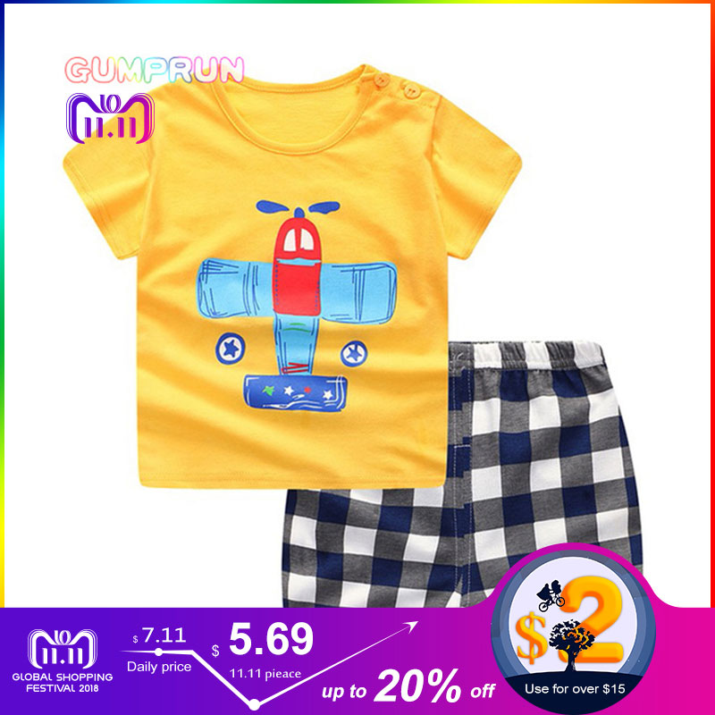 GUMPRUN Children Summer Clothing Set Cute Cartoon T shirt+ Pants 2PCS boys clothes kids Short Sleeve Cotton Toddler Girls Sets парик каре платиновый блонд playfully platinum
